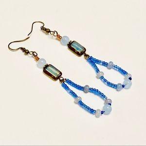 Chalcedony Blues Long Lightweight Earrings